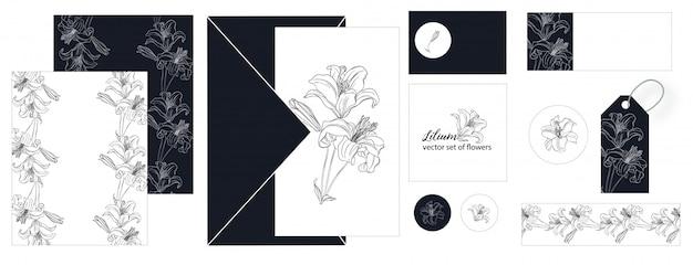 Zestaw pocztówek z kwiatami lily.