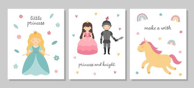 Zestaw pocztówek z uroczymi księżniczkami mała księżniczka rycerz jednorożec