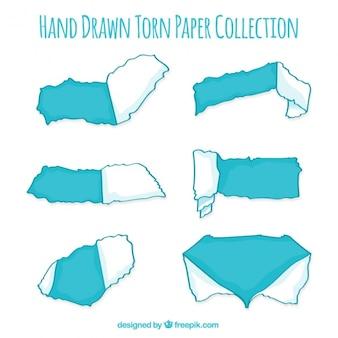 Zestaw podarte papieru w kolorze niebieskim