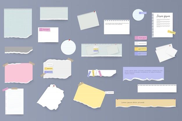 Zestaw podarte poziome białe i kolorowe paski papieru, notatki i notatnik na szarym tle. podarte arkusze notatnika, wielobarwne arkusze i kawałki podartego papieru. ilustracja,.