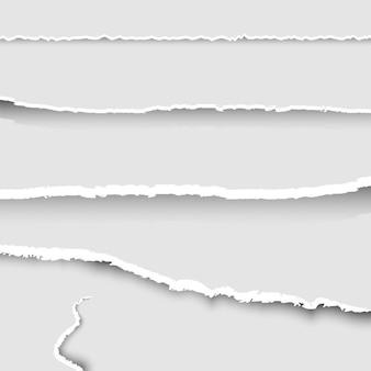 Zestaw podartego papieru, zbiór kawałków podartego papieru z podartymi krawędziami i cieniami, zestaw podartych papierowych banerów, tło,
