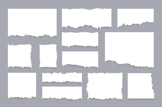 Zestaw podartych arkuszy papieru. realistyczne kawałki podartych białych stron.