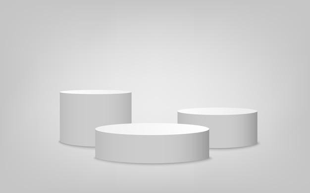 Zestaw podium w białym cylindrze