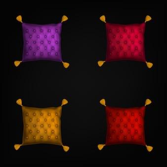 Zestaw podkładek pod igły, poduszki do szycia z frędzlami na czarnym tle
