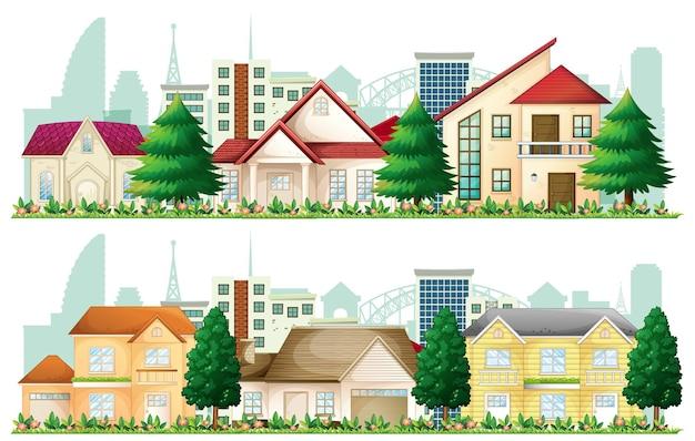 Zestaw podmiejskich domów na białym tle