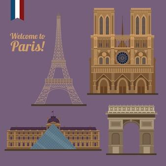 Zestaw podróżny w paryżu. znane miejsca - wieża eiffla, luwr, notre dame, łuk triumfalny