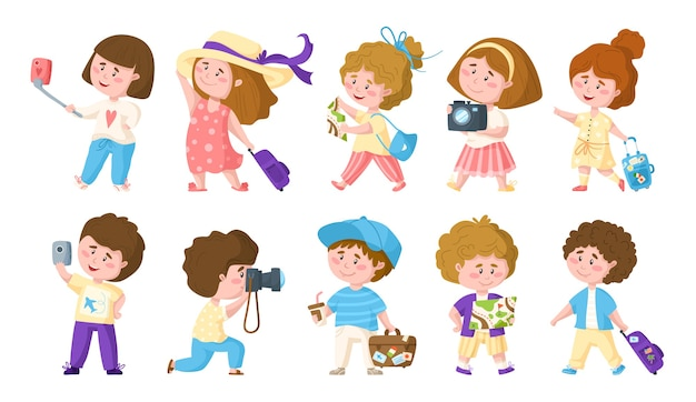 Zestaw podróżujących kreskówek uroczych chłopców i dziewcząt ilustracji