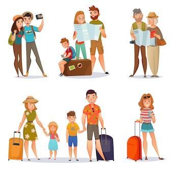 Zestaw podróżujących ludzi