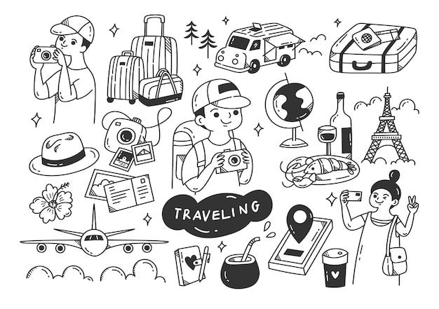 Zestaw podróży doodle grafika liniowa