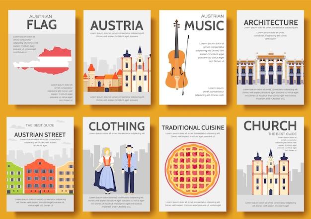 Zestaw podróży podróży ozdoba kraju austria. sztuka tradycyjna, plakat, abstrakcja, motywy otomańskie.