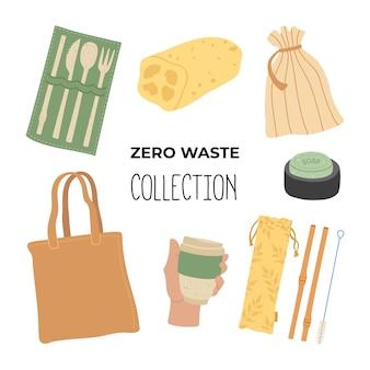 Zestaw podstawowych elementów do rysowania ręcznego zero waste. od czego zacząć używać mniej plastikowych, głównych obiektów. postaw na ekologię, powiedz nie plastikowi.