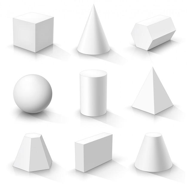 Zestaw podstawowych kształtów 3d. białe geometryczne bryły