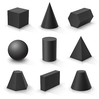 Zestaw podstawowych kształtów 3d. czarne geometryczne bryły