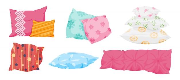 Zestaw poduszek, płaski w stylu cartoon. poduszki na sofę, łóżko, spanie lub relaks. klasyczne pióro