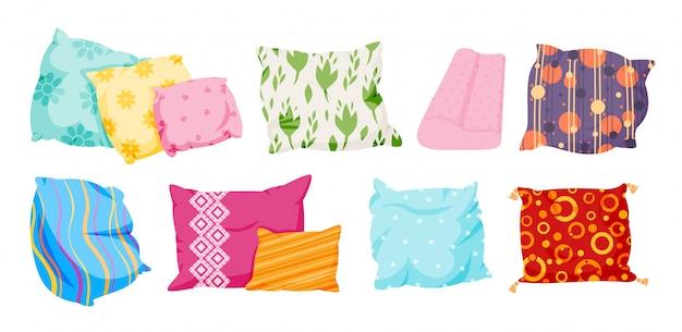 Zestaw poduszek, płaski w stylu cartoon. poduszki tekstylne wewnętrzne do sofy, łóżka, spania. klasyczne piórko, bambusowa tkanina ekologiczna