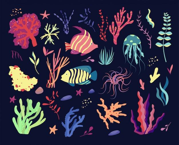 Zestaw podwodnych mieszkańców świata morskiego, elementów flory i fauny. algi, rafa koralowa, ryby i meduza. ilustracja kreskówka.