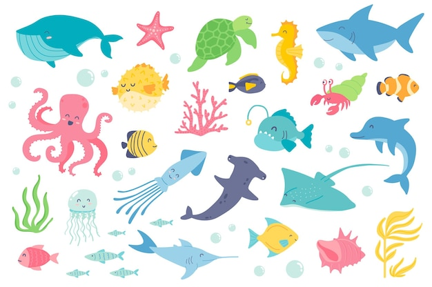 Zestaw podwodnych zwierząt i ryb na białym tle kolekcja wielorybów rozgwiazdy żółw morski