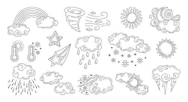Zestaw pogoda doodle zestaw ikon na białym tle