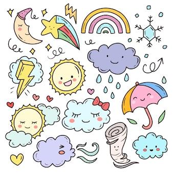 Zestaw pogodowych ślicznych doodles kawaii