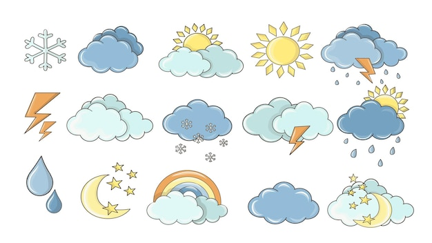 Zestaw pogody. białe chmury, rosa na liściach, znak mgły, dzień i noc do projektowania prognozy. naklejki słońca i burzy. kolekcja ikony pogody kolorowy kreskówka.
