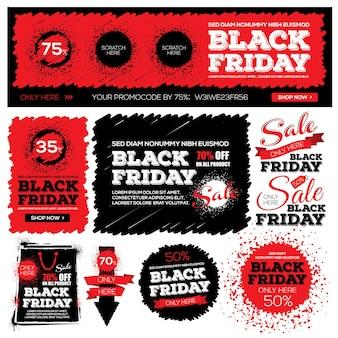 Zestaw pogrupowanych banerów na sprzedaż w czarny piątek i zniżki