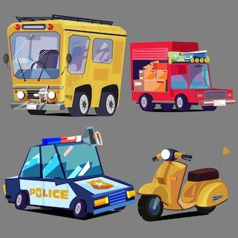 Zestaw pojazdów. autobus, ciężarówka, samochód policyjny, skuter - wektor