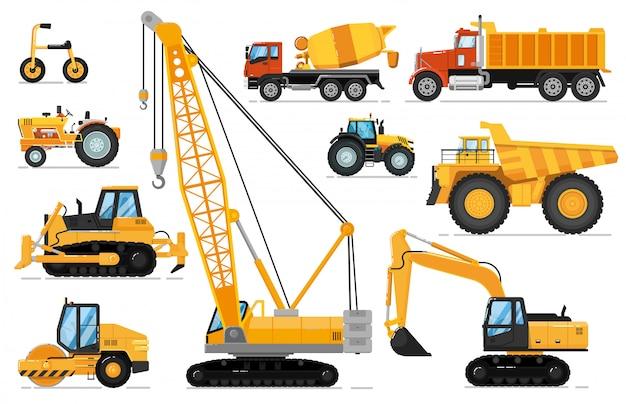 Zestaw pojazdów budowlanych. ciężkie maszyny do prac budowlanych. izolowany dźwig, koparka, ciągnik, spychacz, wywrotka, betoniarka. widok z boku transportu przemysłowego