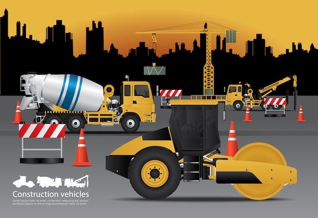 Zestaw pojazdów budowlanych