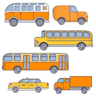 Zestaw pojazdów miejskich pasażerski autobus miejski, szkolny żółty autobus, furgonetka turystyczna, samochód taxi sedan, ciężarówka.