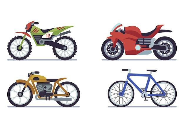 Zestaw pojazdów. motocykle wyścigowe, sportowy rower górski do wyścigów szosowych, wyścigi prędkości nowoczesne podróżowanie pojazdami i sportowa kolekcja transportu samochodowego z płaskim izolowanym wektorem