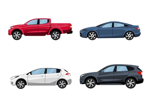 Zestaw pojazdów pickup, hatchback, suv i sedan w widoku z boku.