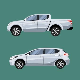 Zestaw pojazdów pickup i hatchback w widoku z boku.