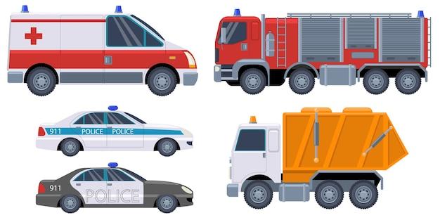 Zestaw pojazdów ratowniczych na białym tle