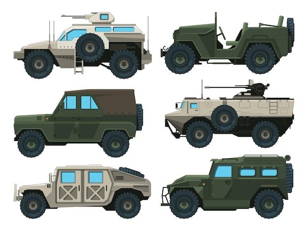 Zestaw pojazdów wojskowych. kolorowe ilustracje wektorowe