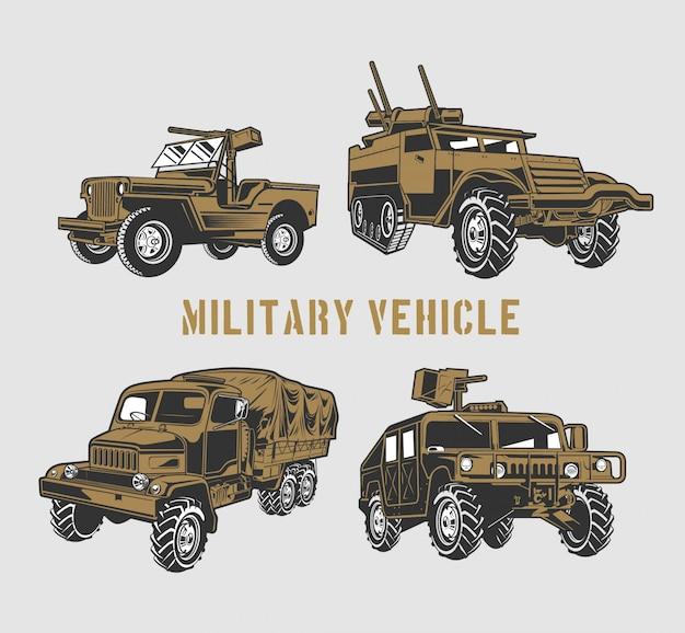 Zestaw pojazdów wojskowych