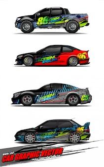 Zestaw pojazdu zestaw graficzny wektor. nowoczesne abstrakcyjne tło dla brandingu okładów samochodowych i barwienia naklejek samochodowych