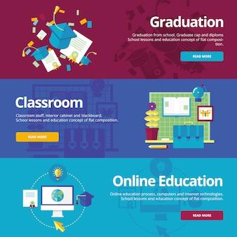 Zestaw pojęć dotyczących ukończenia szkoły, zajęć w klasie, edukacji online. koncepcje dotyczące stron internetowych i materiałów drukowanych.