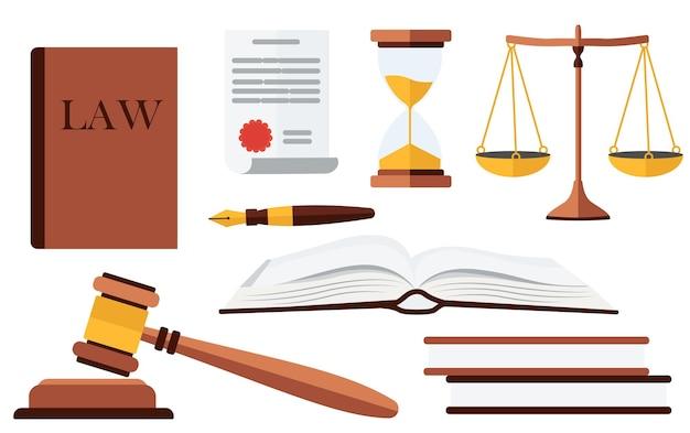 Zestaw. pojęcie prawa i sprawiedliwości. w stylu płaskiej.
