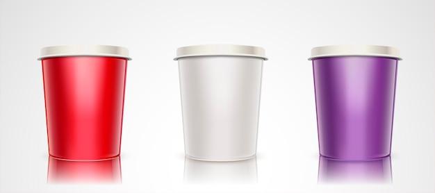 Zestaw pojemników na jogurt lub lody, kubek papierowy
