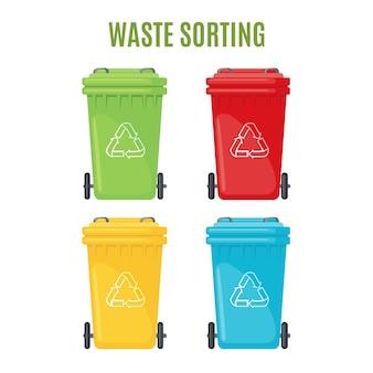 Zestaw pojemników na śmieci dla oddzielnych ikon śmieci.