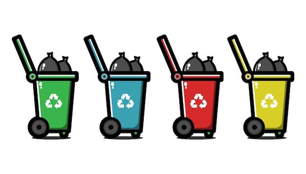 Zestaw pojemników na śmieci. kosz na śmieci do recyklingu. gospodarowanie odpadami.