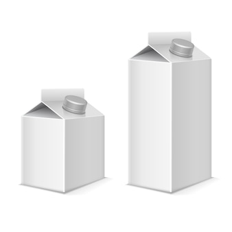 Zestaw pojemników tetra pack z papieru i mleka