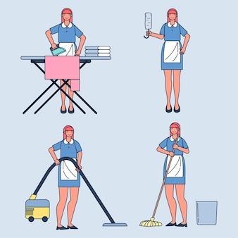 Zestaw pokojówek pracujących w domu