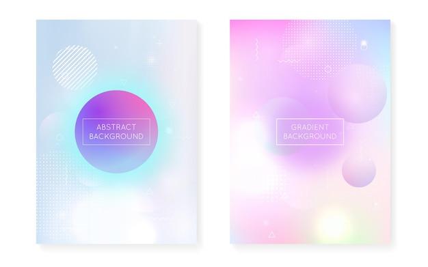 Zestaw pokryw bauhaus z płynnymi kształtami. dynamiczny płyn holograficzny z gradientowym tłem memphis. szablon graficzny ulotki, interfejsu użytkownika, magazynu, plakatu, banera i aplikacji. zestaw fluorescencyjnych pokryw bauhaus.