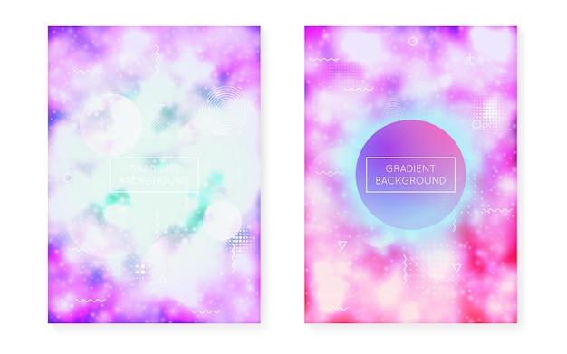 Zestaw pokryw bauhaus z płynnymi kształtami. neonowe świecące tło z fluorescencyjnym fioletem. szablon graficzny na afisz, prezentację, baner, broszurę. futurystyczny zestaw okładek bauhaus.