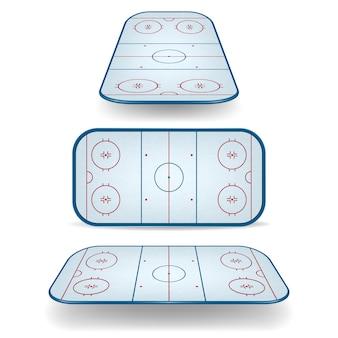 Zestaw pól hokejowych z różnymi perspektywami.