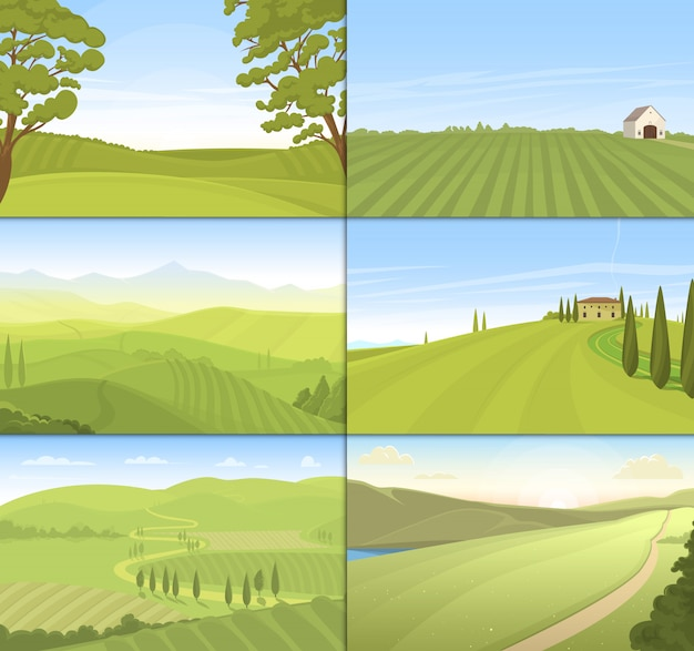 Zestaw pola gospodarstwa rolnego.