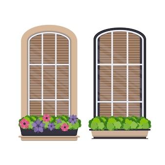 Zestaw półokrągłych okien z kwiatami w stylu płaskiej