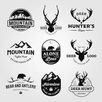 Zestaw polowań i przygody na świeżym powietrzu rocznika logo projektuje ilustracji