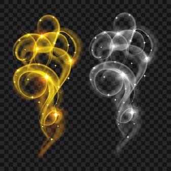 Zestaw półprzezroczystego szarego i żółtego dymu z iskierkami. przezroczystość tylko w pliku wektorowym